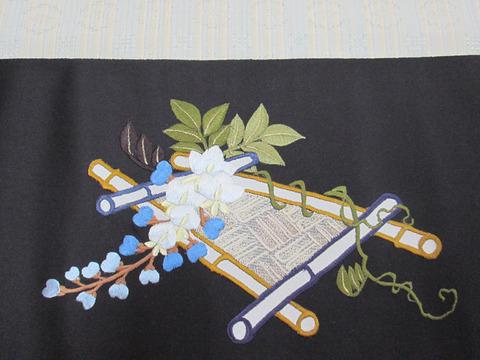 藤の花刺繍九寸名古屋帯地 工芸きもの野口製前柄