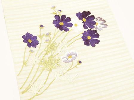 コスモスの花刺繍夏名古屋帯地 工芸キモノ野口