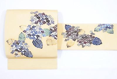 あじさいの花 型絵染名古屋帯