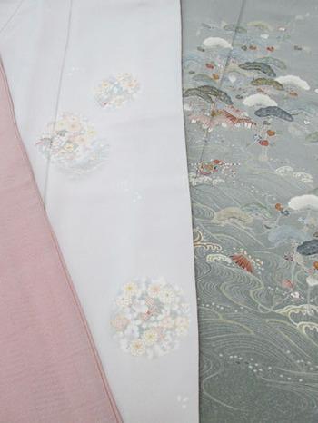 変り格子絽江戸小紋、丸紋に草花単衣訪問着、磯辺文単衣訪問着