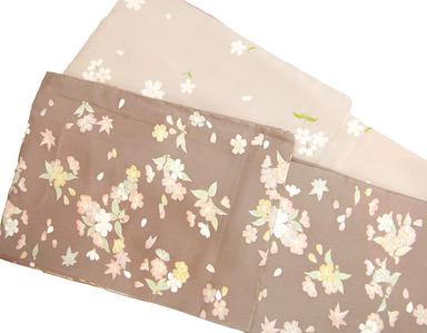 型友禅手挿桜小紋、サクランボの桜小紋