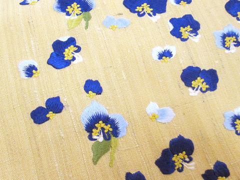 露草図刺繍九寸名古屋帯地 工芸きもの野口アップ