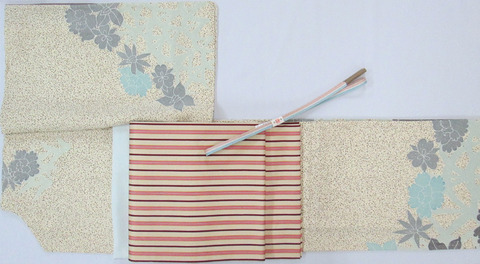 手描きロウケツ染訪問着、「日野間道」開名古屋帯 龍村美術織物製