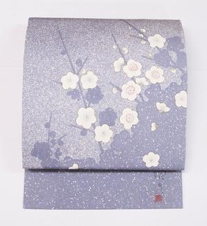 たたき染に梅の花染名古屋帯