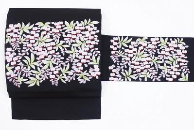藤の花 日本刺繍二部式名古屋帯