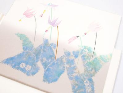 カタクリの花二部式名古屋帯 木原明作 アップ