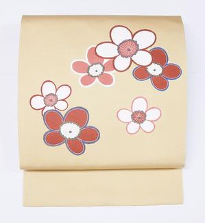 梅の花模様友禅名古屋帯