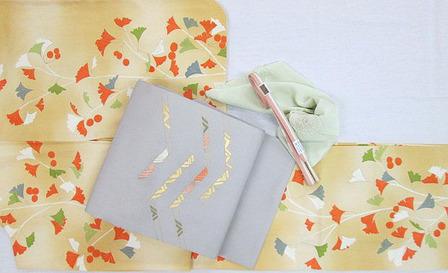 銀杏の模様一方附小紋・摺箔に刺繍塩瀬名古屋帯