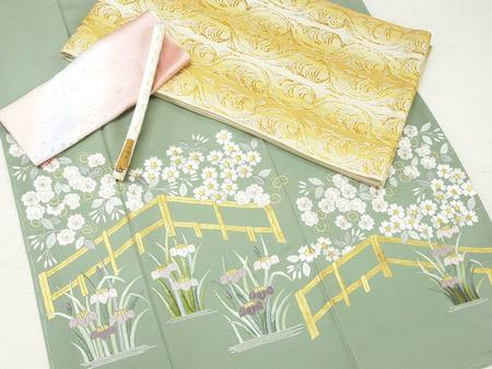 桜と菖蒲図手刺繍訪問着 草乃しずか作、「截金瑞荘文」本袋帯 たつむら製