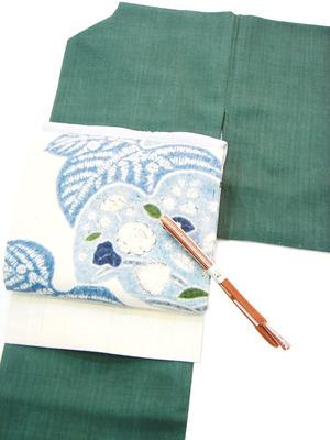 本場結城紬無地単衣着物、辻が花絞り染生紬名古屋帯 しょうざん製