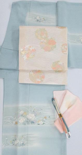 露に秋草模様 絽訪問着、四季の草花丸紋 夏袋帯 銀座きしや扱