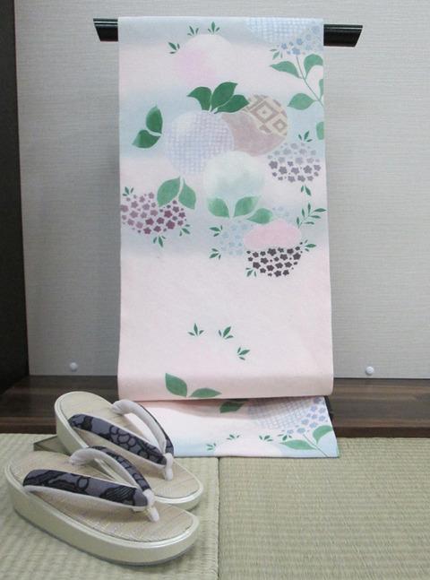 紫陽花図友禅名古屋帯 こうげい芥川扱2