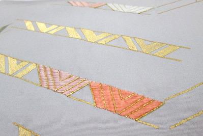 摺箔に刺繍塩瀬名古屋帯