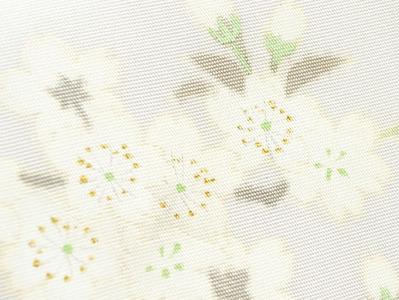 桜の花図手描名古屋帯 銀座きしや扱 アップ