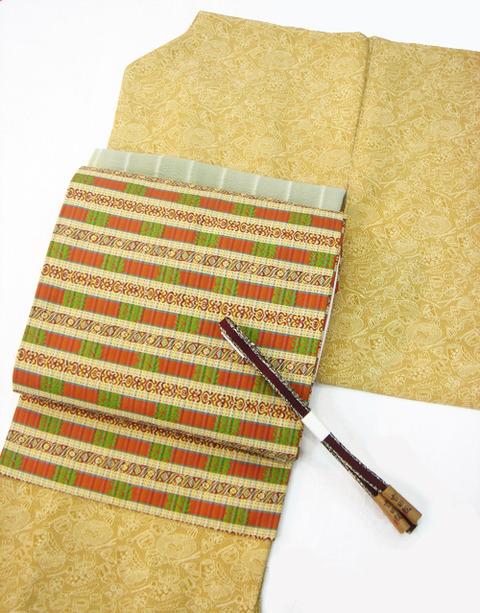 「茶道具」加賀染小紋 中儀延作、萬葉 名物裂総柄名古屋帯 山喜織物製