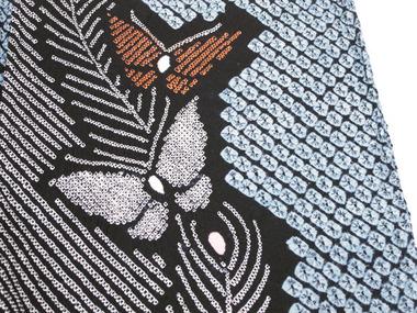 有松絞り 孔雀の羽根と蝶々浴衣