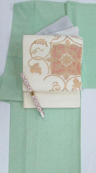 加賀小紋 絽訪問着 中儀延作、蔓花文絽綴袋帯 銀座きしや扱