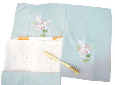紫陽花の花手描友禅絽訪問着、夏名古屋帯地 織楽浅野製2