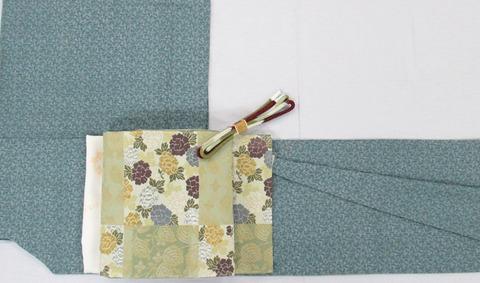 加賀小紋着物 日本工芸会正会員 坂口幸市作、市松取牡丹と蔓草紋 唐織 袋帯