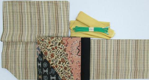 伝統草木染 郡上紬 着物、明治時代の木綿更紗布使用 創作帯