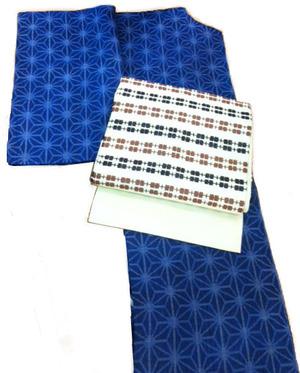 藍染麻の葉絣本場宮古上布着物、市松変り織麻型染名古屋帯