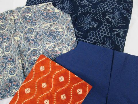 弓ヶ浜絣 鶴と亀絵絣単衣着物、地白藍型染紬小紋、首里花織 藍染紬着物、南部茜染 立涌文絞り木綿名古屋帯