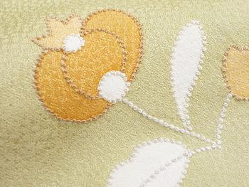 鳥と花の柄相良刺繍単衣附下3