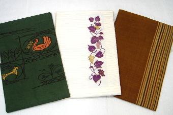 壁画風すくい織、帝王紫 葡萄紋八寸  じゅらく製、本場結城紬間道手