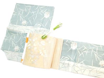 ススキに雪輪絽小紋、萩の花すくい織手機絽名古屋帯 銀座きしや扱