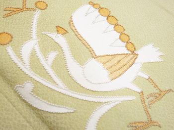 鳥と花の柄相良刺繍単衣附下2