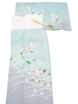 紫陽花の花手描友禅絽訪問着、夏名古屋帯地 織楽浅野製
