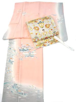 茶屋辻文様友禅訪問着 上野清二作、双鳳凰文様袋帯 河合美術織物製