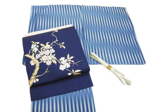 本藍熊野染暈し立涌小紋、桜の枝図手刺繍名古屋帯