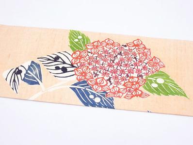 紫陽花の柄型絵染紬名古屋帯前柄