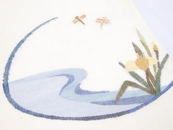 水辺にトンボすくい織夏名古屋帯