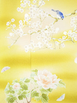 梅に鳥と四季の草花訪問着仮絵羽 こうげい芥川