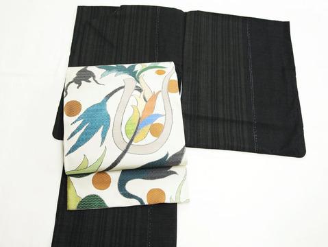 本場結城紬 縞に蚊絣着物、「漢代異文」袋帯 洛風林製