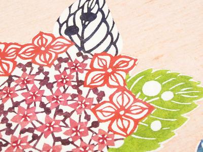 紫陽花の柄型絵染紬名古屋帯アップ