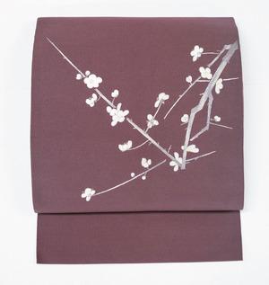 手織綴れに梅の花手刺繍八寸名古屋帯