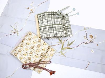 四季の花友禅に手刺繍訪問着、厚板格子柄名古屋帯、リボン柄袋帯
