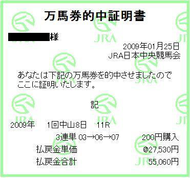 AJCC 3連単275.3倍×200円