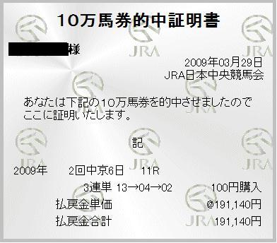 高松宮記念 3連単1911.4倍×100円