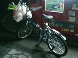 自転車と食材