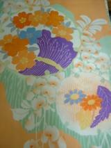 オレンジ春の花染め帯