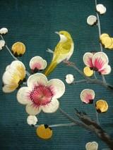 梅に鶯刺繍帯