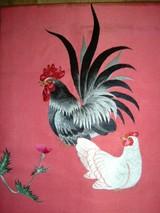 にわとりペア刺繍帯