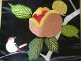 ざくろと小鳥刺繍
