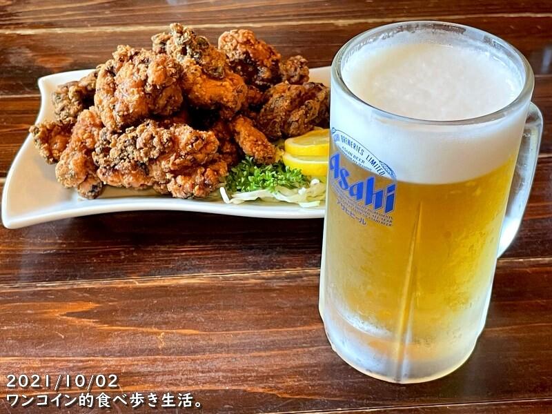 ツルミ食堂 生ビールと酢子鶏