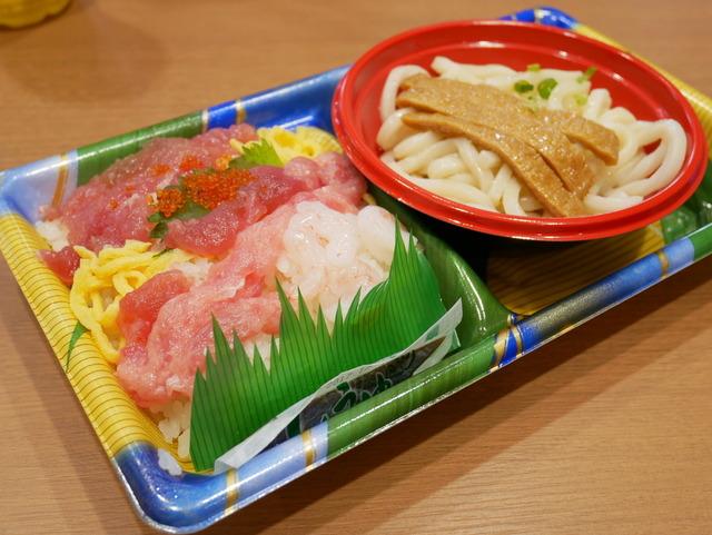 ヨークベニマルで、うどん+海鮮ちらし寿司