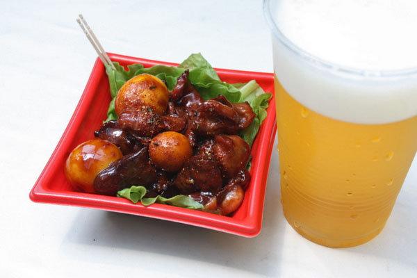 甲府鳥もつ煮 with 生ビール